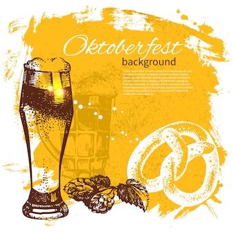 Fundo vintage oktoberfest. ilustração de mão desenhada. splash blob retro com cerveja