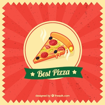 Fundo vintage vermelho com fatia de pizza