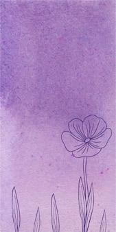 Fundo violeta banner aquarela com mão desenhadas flores