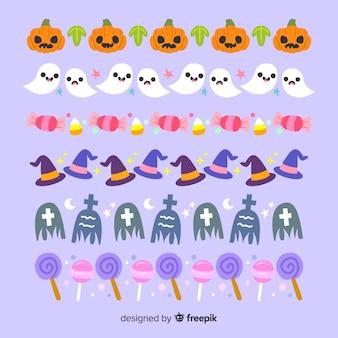 Fundo violeta com coleção de fronteira de halloween