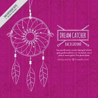 Fundo violeta com mão desenhada apanhador de sonhos