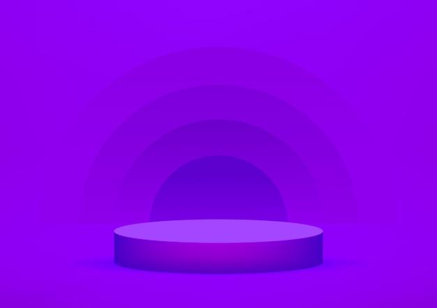 Fundo violeta do estúdio vazio do pódio para exposição do produto.