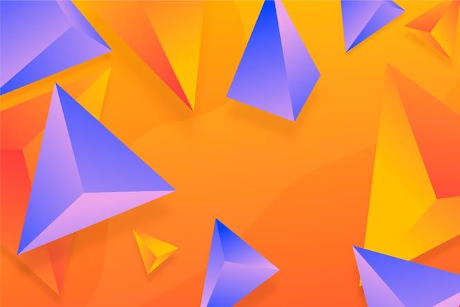 Fundo violeta e laranja do triângulo 3d