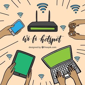 Fundo wifi com variedade de dispositivos eletrônicos desenhados à mão