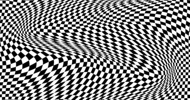 Fundo xadrez distorcido em preto e branco