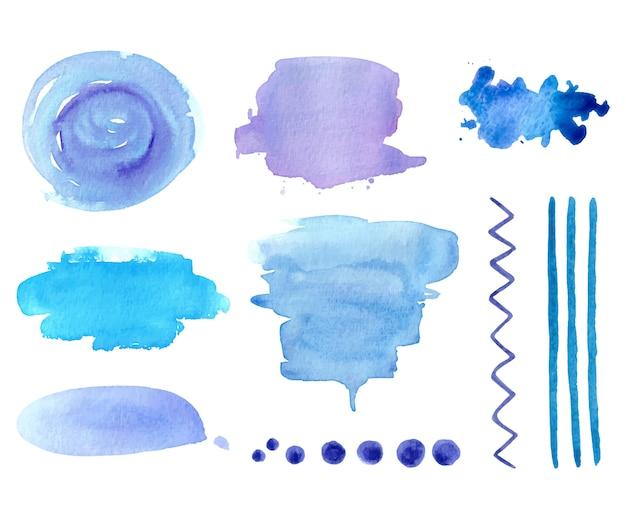 Fundos abstratos aquarela para design em cores azuis