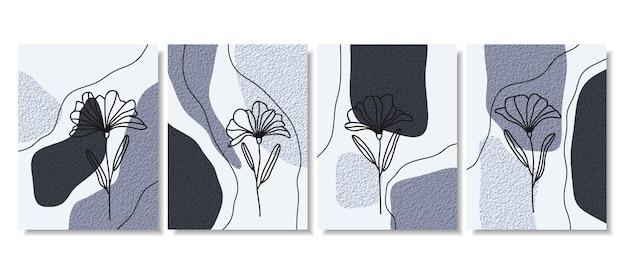 Fundos abstratos com formas mínimas e flor de arte de linha.