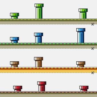 Fundos coloridos com tubos para jogo simples