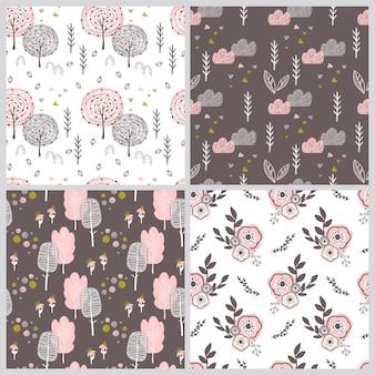 Fundos de bebê doodle. сhildish coleção de padrões sem emenda