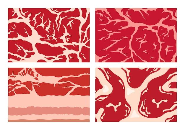 Fundos de carne com texturas de carne de porco e cordeiro