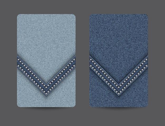 Fundos de cartão com textura jeans azul e faixa em cunha com lantejoulas prateadas.