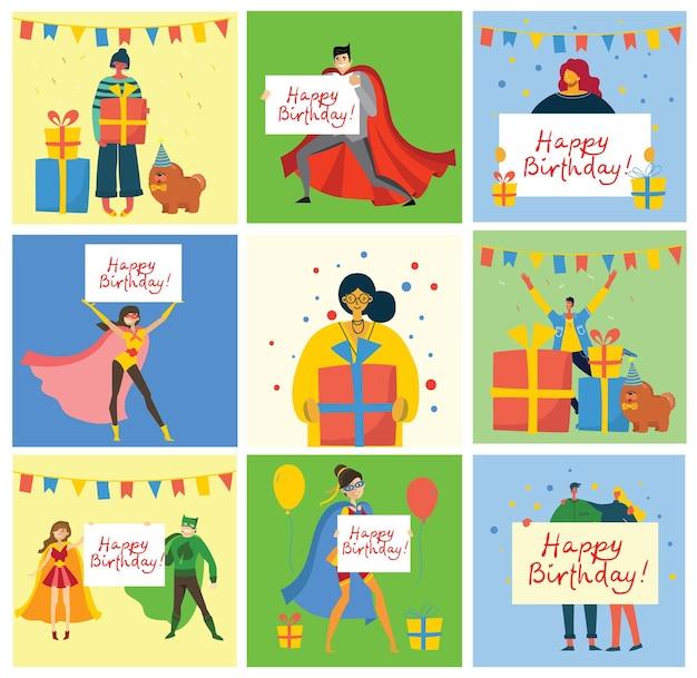 Fundos de cartões de feliz aniversário