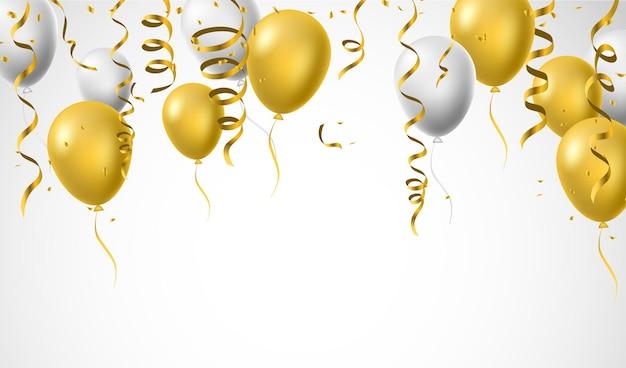 Fundos de celebração de aniversário balões de ouro branco amarelo brilhante e confetes de folha dourada ilustração vetorial