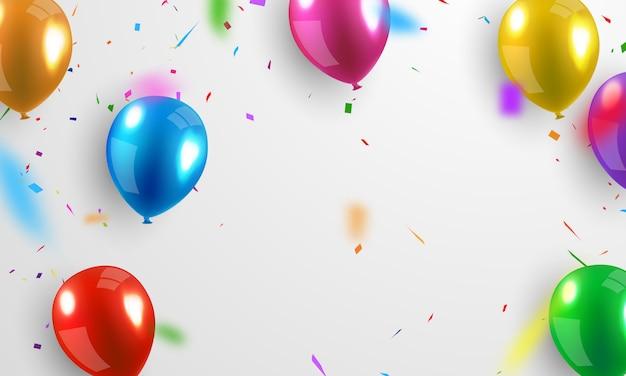 Fundos de confetes coloridos e balões coloridos brilhantes que podem ser separados de um fundo transparente para celebração.