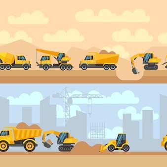 Fundos de construção horizontal sem costura com máquinas de construção máquinas guindastes trator tru