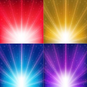 Fundos de cores abstratas com raios de sol e estrelas