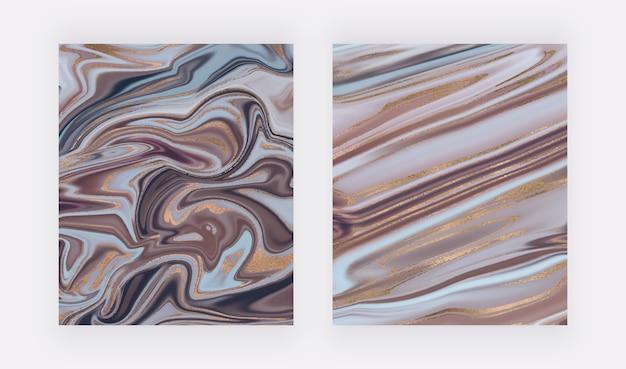 Fundos de design de tinta líquida de folha de ouro com textura de respingos de glitter de onda.