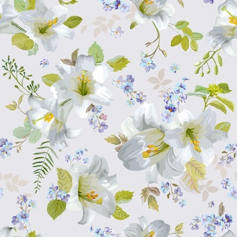 Fundos de flores de lírio de primavera - padrão floral sem costura chique gasto - em