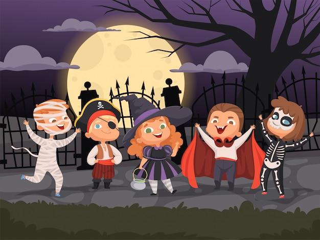 Fundos de halloween. crianças brincando com fantasias assustadoras para a coleção de personagens de bruxa zumbi fantasma de festa de terror do diabo