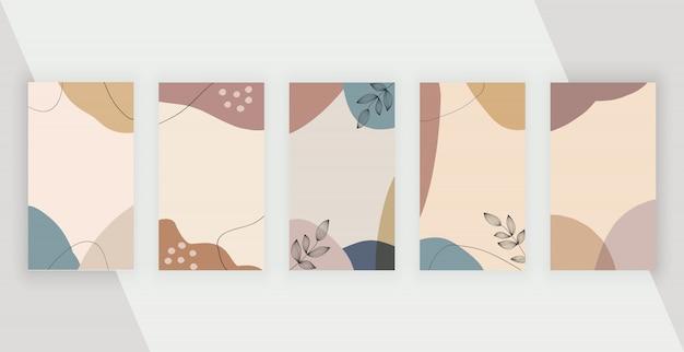 Fundos de histórias de mídia social com formas de pintura à mão livre artística geométrica abstrata.