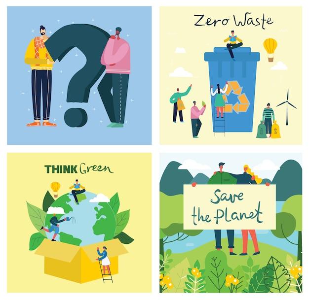 Fundos de ilustração eco do conceito de energia eco verde e citação salve o planeta e os resíduos reciclem em estilo geométrico plano