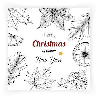 Fundos de natal e ano novo e cartão de felicitações.
