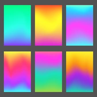 Fundos de tela do smartphone com gradientes modernos. conjunto de papel de parede gradiente suave, profundo e brilhante