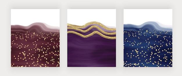 Fundos em aquarela de luxo com traçado de pincel vermelho roxo e azul com linhas de glitter e confetes