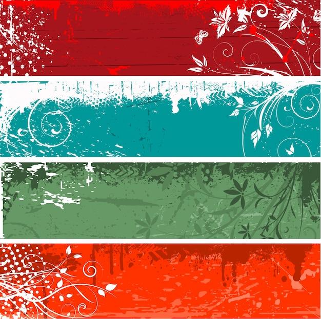 Fundos florais do grunge em quatro cores diferentes