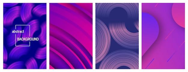 Fundos geométricos abstratos na moda. desenho de banner de histórias. conjunto de quatro lindos designs de padrão dinâmico futurista. ilustração vetorial