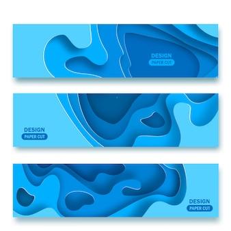Fundos panorâmicos com formas de corte de papel azul abstrato 3d