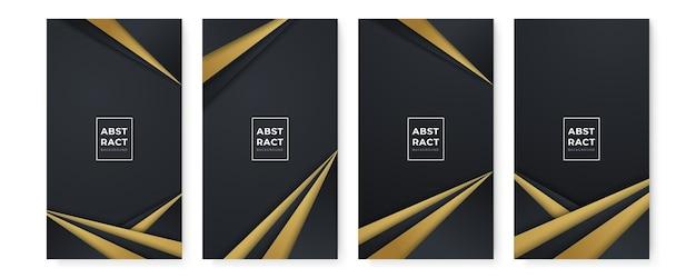Fundos pretos abstratos modernos com linhas douradas