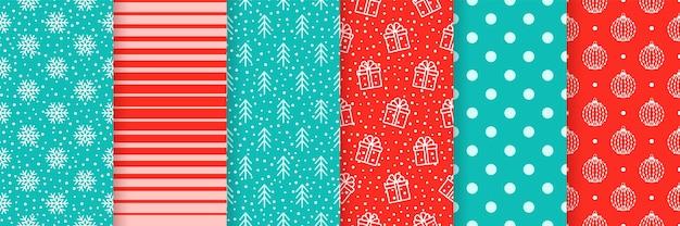 Fundos sem emenda de natal. padrão de ano novo de natal. defina texturas festivas. ilustração