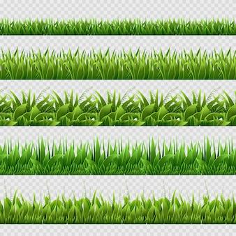 Fundos sem emenda realistas da grama verde isolados.