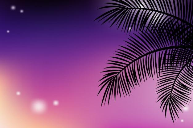 Fundos tropicais de verão com as palmas das mãos e céu pôr do sol.