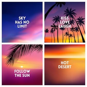 Fundos tropicais de verão conjunto com palmeiras, céu e pôr do sol.