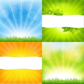 Fundos verdes e laranja com sunburst, fundo