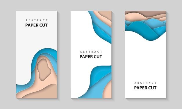 Fundos verticais de vetor com formas de ondas de corte de papel