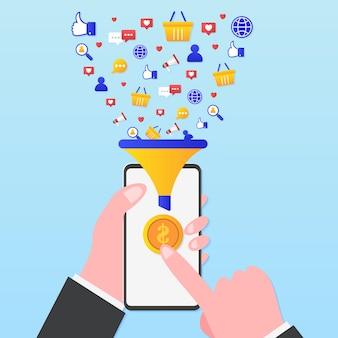 Funil de conversão de marketing com smartphone