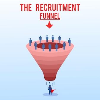 Funil de recrutamento, ilustração de processos