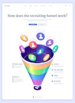 Funil de recrutamento - página de destino isométrica de contratação