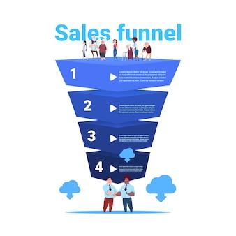 Funil de vendas com mistura corrida idosos pessoas comprimento total nuvem sincronização estágios infográfico de negócios. conceito de diagrama de compra