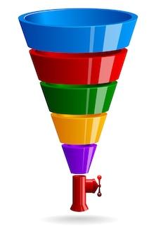 Funil de vendas com válvula. ilustração de cor brilhante Vetor Premium