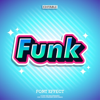 Funk sticker text effect efeito de fonte moderna legal