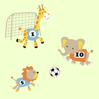 Funny animals soccer cartoon vector