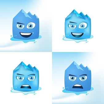 Funny face glacier cartoon