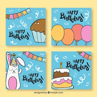 Funny hand drawn bithday cards collection