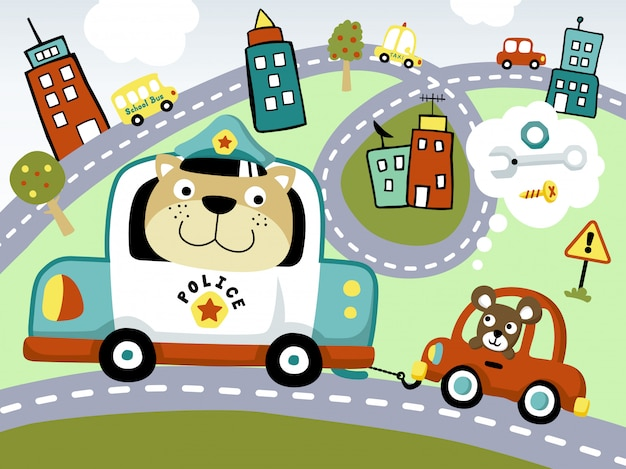 Funny police car cartoon rebocando o carro pequeno