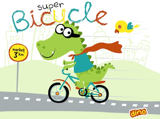Funny super hero cartoon dino bicicleta de equitação