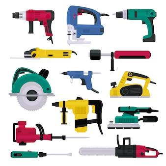 Furadeira elétrica de ferramentas elétricas e moedor de plaina elétrica de equipamentos de construção e conjunto de máquinas de ilustração de serra circular de chave de fenda na caixa de ferramentas isolada no fundo branco